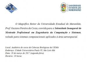 CONVITE MESTRADO COMPUTAÇÃO. reitor 2